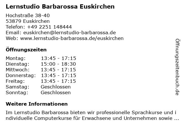Lernstudio Barbarossa Euskirchen in Euskirchen: Adresse und Öffnungszeiten
