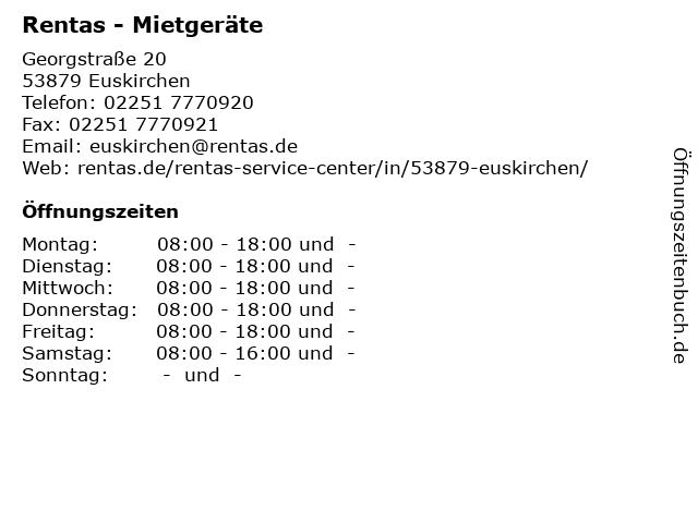 Rentas - Mietgeräte in Euskirchen: Adresse und Öffnungszeiten