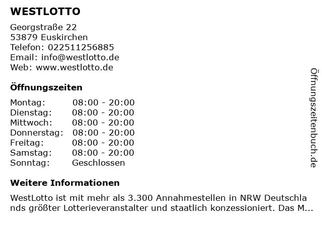 WESTLOTTO in Euskirchen: Adresse und Öffnungszeiten