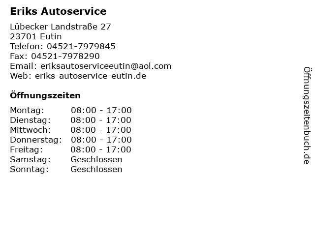 Eriks Autoservice in Eutin: Adresse und Öffnungszeiten