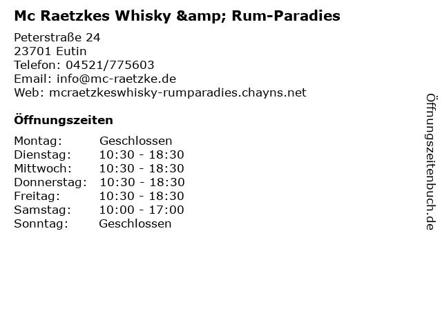 Mc Raetzkes Whisky & Rum-Paradies in Eutin: Adresse und Öffnungszeiten