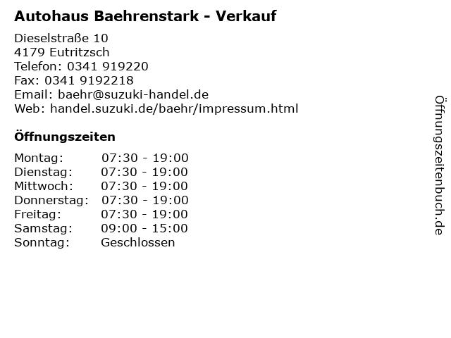 Autohaus Baehrenstark - Verkauf in Eutritzsch: Adresse und Öffnungszeiten