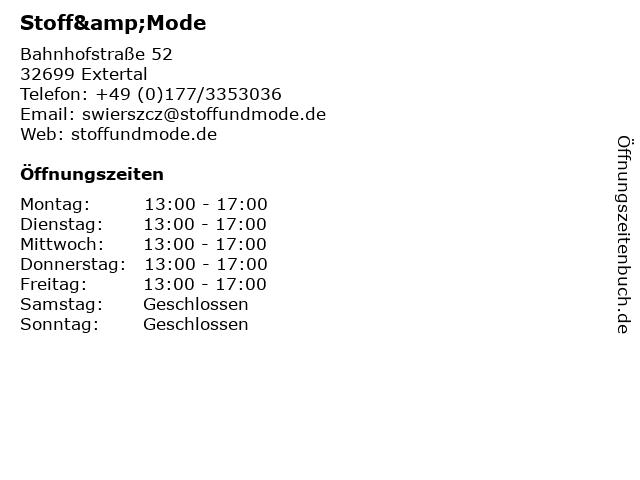 Stoff&Mode in Extertal: Adresse und Öffnungszeiten