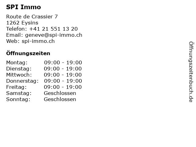 SPI Immo in Eysins: Adresse und Öffnungszeiten