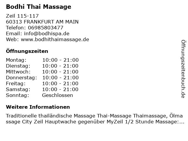 Bodhi Thai Massage in FRANKFURT AM MAIN: Adresse und Öffnungszeiten