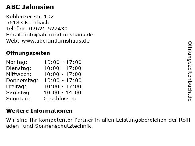 Abc Jalousien.ᐅ öffnungszeiten Abc Jalousien Lahnstein Didierstraße