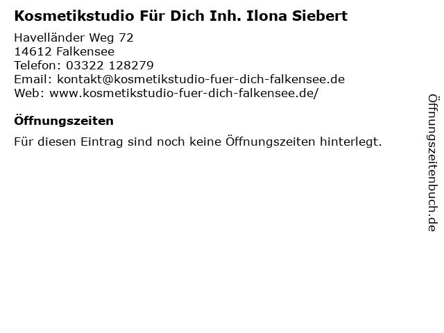 Kosmetikstudio Für Dich Inh. Ilona Siebert in Falkensee: Adresse und Öffnungszeiten