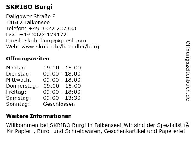SKRIBO Burgi in Falkensee: Adresse und Öffnungszeiten