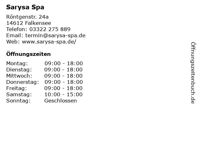 Sarysa Spa in Falkensee: Adresse und Öffnungszeiten