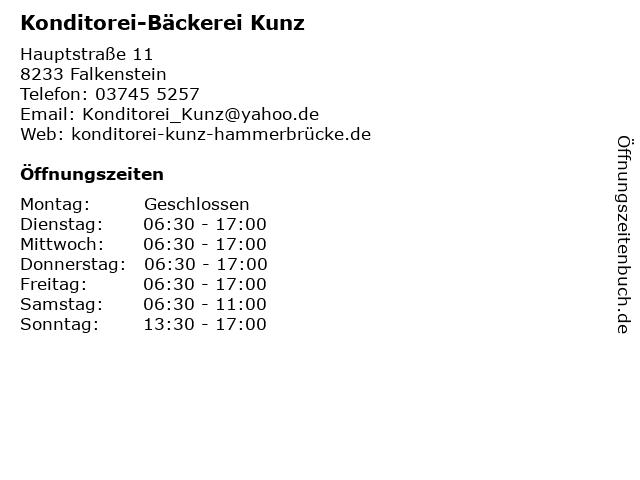 Konditorei-Bäckerei Kunz in Falkenstein: Adresse und Öffnungszeiten