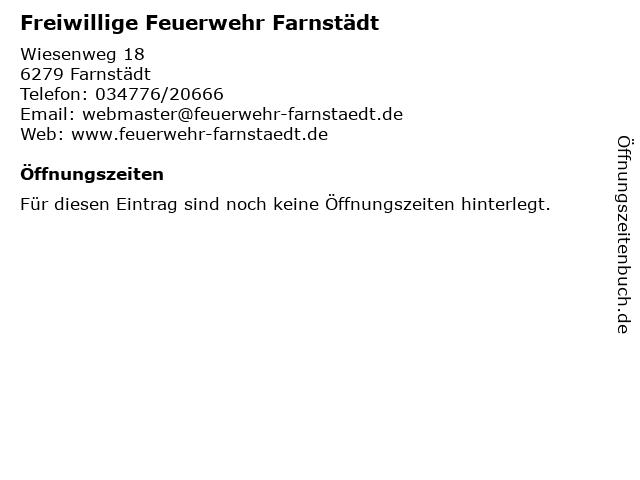 Freiwillige Feuerwehr Farnstädt in Farnstädt: Adresse und Öffnungszeiten