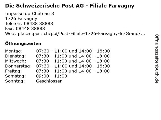 Die Schweizerische Post AG - Filiale Farvagny in Farvagny: Adresse und Öffnungszeiten