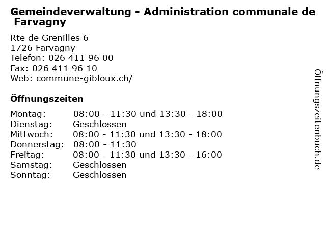 Gemeindeverwaltung - Administration communale de Farvagny in Farvagny: Adresse und Öffnungszeiten