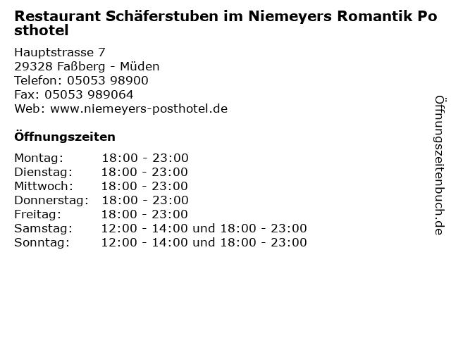 Restaurant Schäferstuben im Niemeyers Romantik Posthotel in Faßberg - Müden: Adresse und Öffnungszeiten