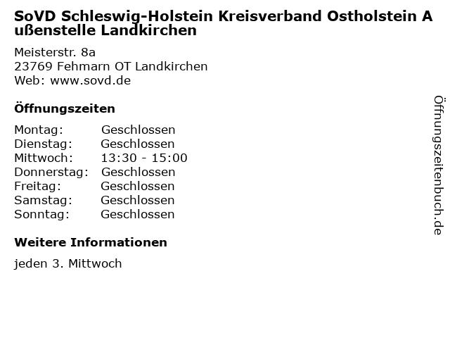 SoVD Schleswig-Holstein Kreisverband Ostholstein Außenstelle Landkirchen in Fehmarn OT Landkirchen: Adresse und Öffnungszeiten
