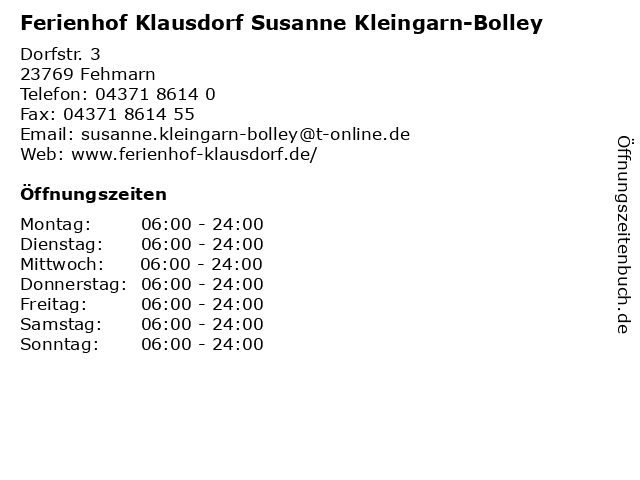 Ferienhof Klausdorf Susanne Kleingarn-Bolley in Fehmarn: Adresse und Öffnungszeiten