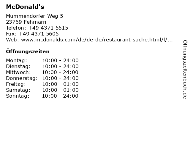 McDonald's in Fehmarn: Adresse und Öffnungszeiten