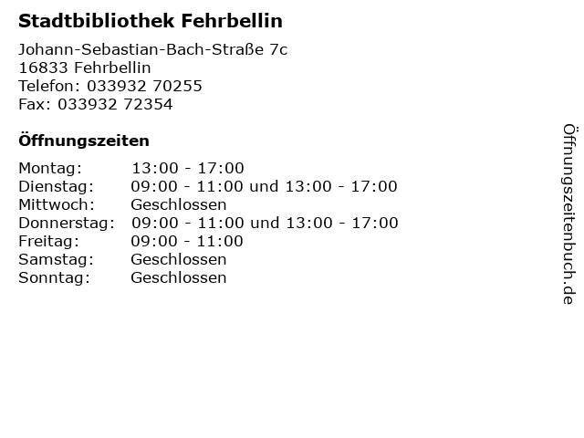 Stadtbibliothek Fehrbellin in Fehrbellin: Adresse und Öffnungszeiten