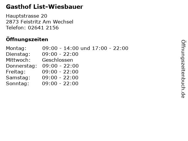 Gasthof List-Wiesbauer in Feistritz Am Wechsel: Adresse und Öffnungszeiten