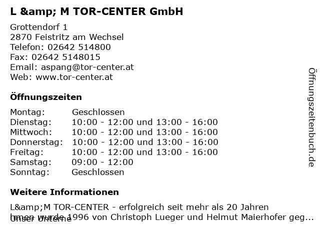 L & M TOR-CENTER GmbH in Feistritz am Wechsel: Adresse und Öffnungszeiten