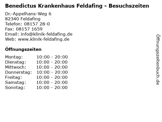 Benedictus Krankenhaus Feldafing - Besuchszeiten in Feldafing: Adresse und Öffnungszeiten