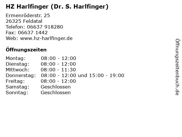 HZ Harlfinger (Dr. S. Harlfinger) in Feldatal: Adresse und Öffnungszeiten