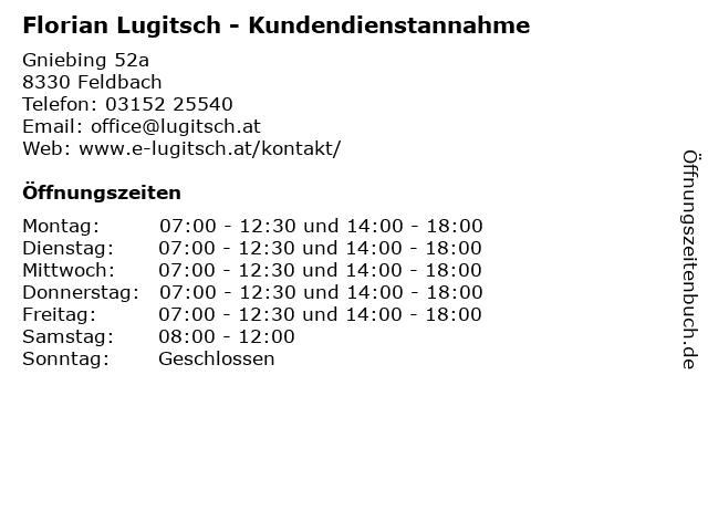 Florian Lugitsch - Kundendienstannahme in Feldbach: Adresse und Öffnungszeiten