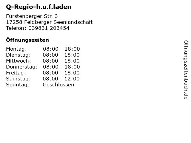Q-Regio-h.o.f.laden in Feldberger Seenlandschaft: Adresse und Öffnungszeiten