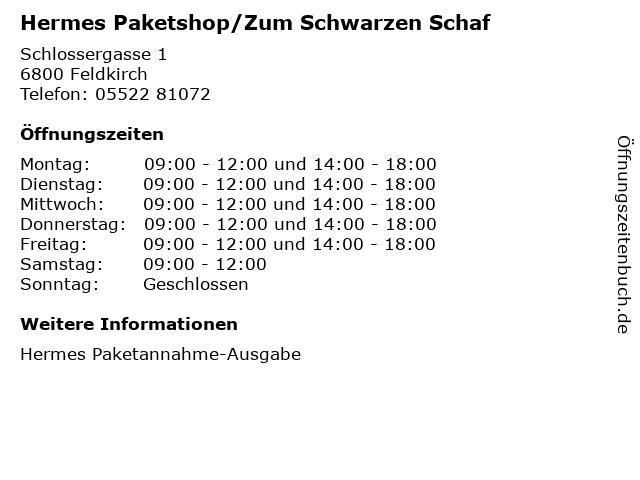 Hermes Paketshop/Zum Schwarzen Schaf in Feldkirch: Adresse und Öffnungszeiten