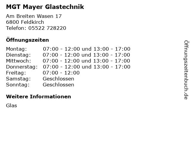 MGT Mayer Glastechnik in Feldkirch: Adresse und Öffnungszeiten