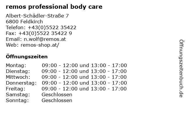 remos professional body care in Feldkirch: Adresse und Öffnungszeiten