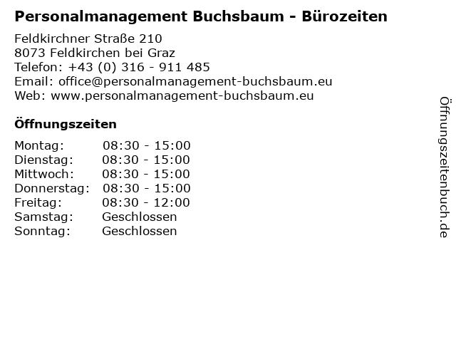 Personalmanagement Buchsbaum - Bürozeiten in Feldkirchen bei Graz: Adresse und Öffnungszeiten