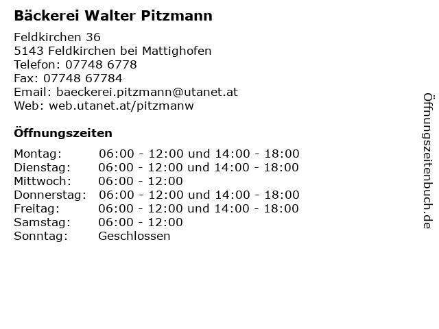 Bäckerei Walter Pitzmann in Feldkirchen bei Mattighofen: Adresse und Öffnungszeiten