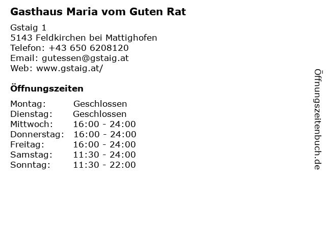 Gasthaus Maria vom guten Rat in Feldkirchen bei Mattighofen: Adresse und Öffnungszeiten