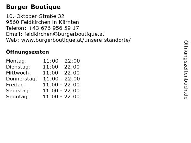 Burger Boutique in Feldkirchen in Kärnten: Adresse und Öffnungszeiten