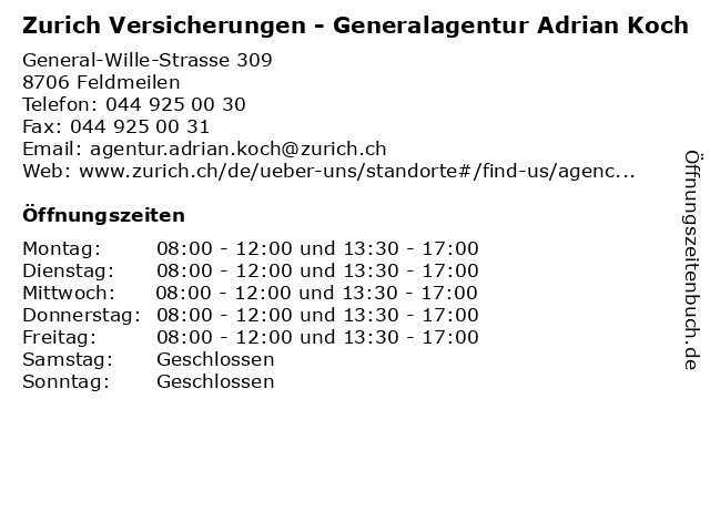Zurich Versicherungen - Generalagentur Adrian Koch in Feldmeilen: Adresse und Öffnungszeiten