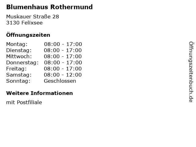 Blumenhaus Rothermund in Felixsee: Adresse und Öffnungszeiten