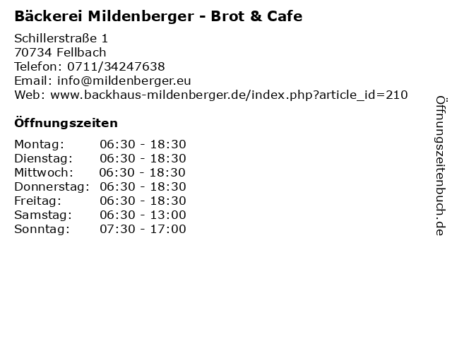 ᐅ öffnungszeiten Bäckerei Mildenberger Brot Cafe