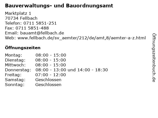 Bauverwaltungs- und Bauordnungsamt in Fellbach: Adresse und Öffnungszeiten