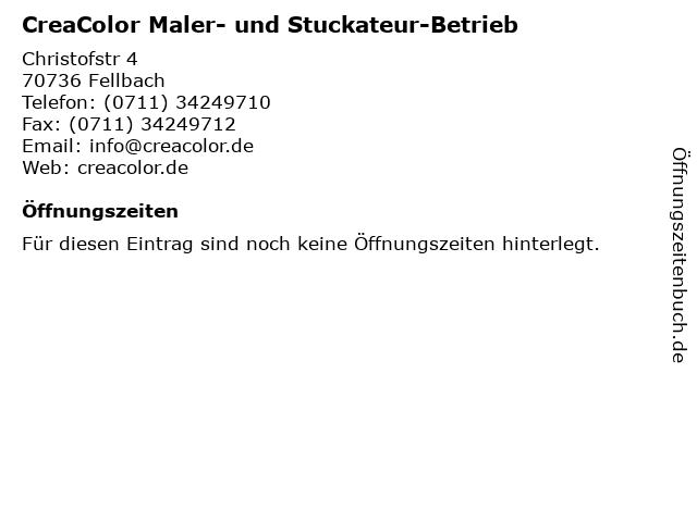 CreaColor Maler- und Stuckateur-Betrieb in Fellbach: Adresse und Öffnungszeiten