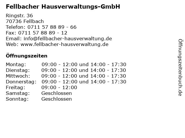Fellbacher Hausverwaltungs-GmbH in Fellbach: Adresse und Öffnungszeiten