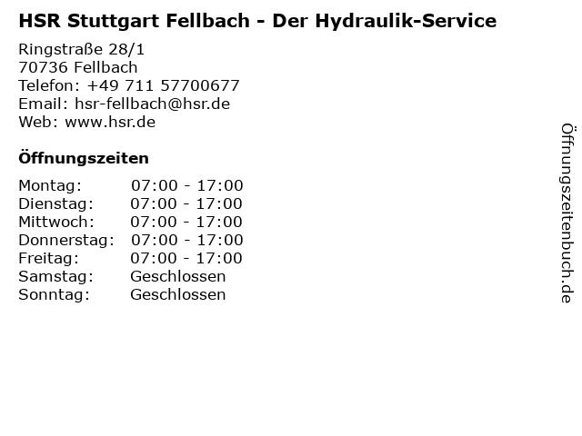 HSR Der Hydraulik-Service in Fellbach: Adresse und Öffnungszeiten