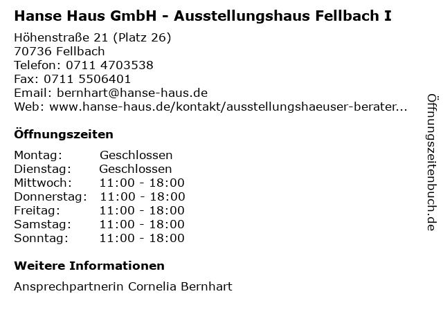 ᐅ öffnungszeiten Hanse Haus Gmbh Ausstellungshaus Fellbach I