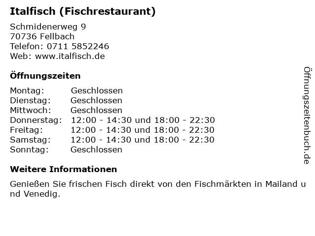 Italfisch (Fischrestaurant) in Fellbach: Adresse und Öffnungszeiten