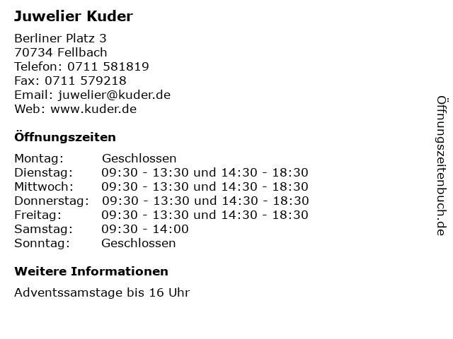 Juwelier Kuder in Fellbach: Adresse und Öffnungszeiten