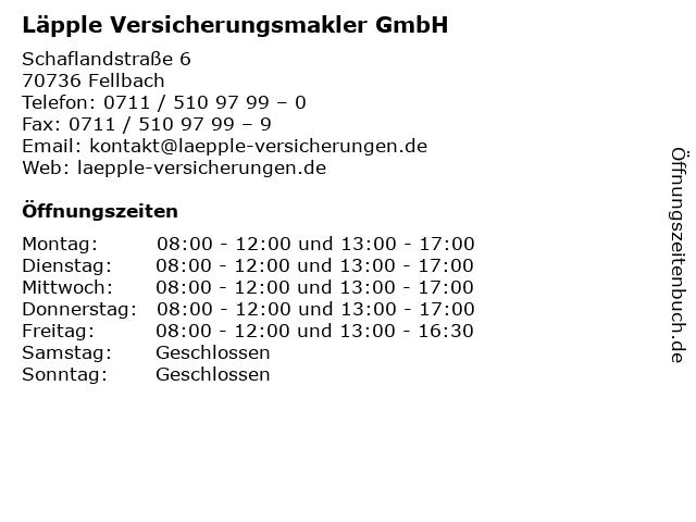 Läpple Versicherungsmakler GmbH in Fellbach: Adresse und Öffnungszeiten