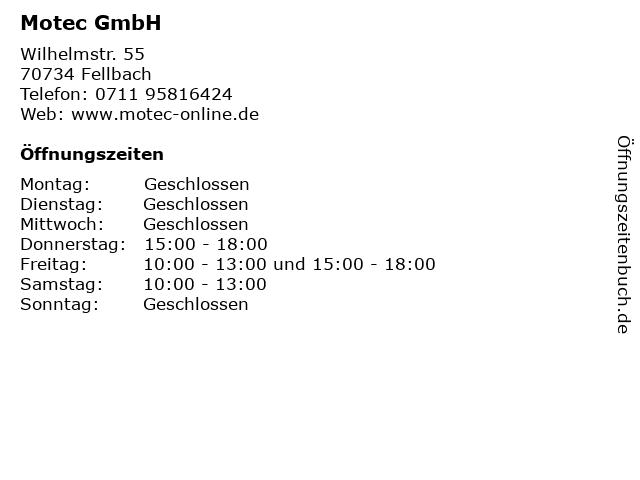 """ᐅ Öffnungszeiten """"Motec GmbH""""   Wilhelmstr  55 in Fellbach"""