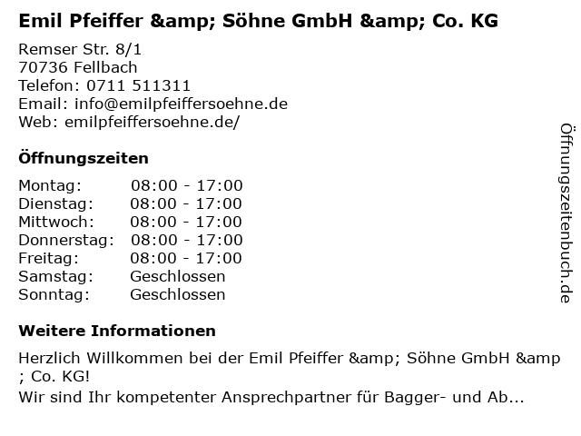Emil Pfeiffer & Söhne GmbH&Co.KG in Fellbach-Oeffingen: Adresse und Öffnungszeiten