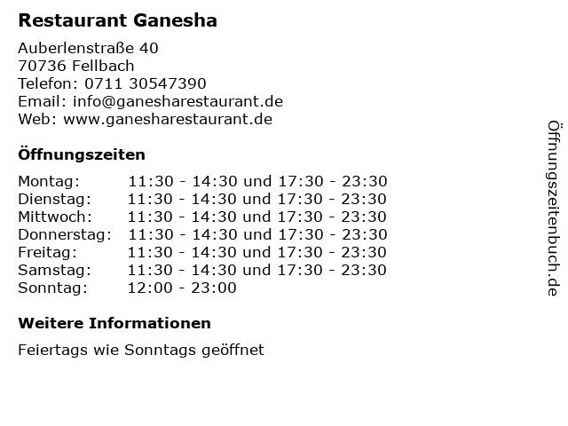 Restaurant Ganesha in Fellbach: Adresse und Öffnungszeiten