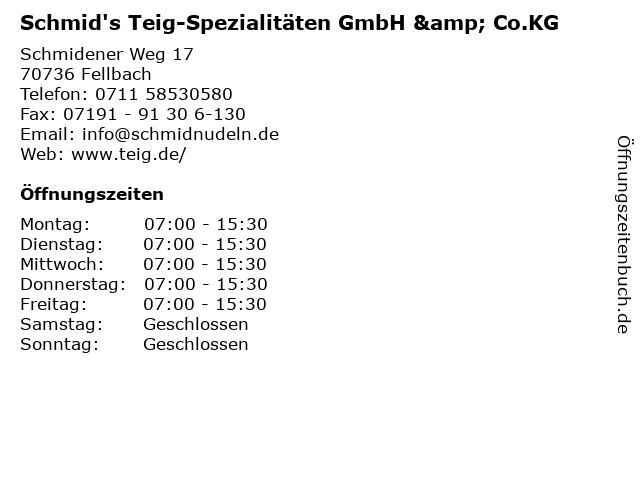 Schmid's Teig-Spezialitäten GmbH & Co.KG in Fellbach: Adresse und Öffnungszeiten